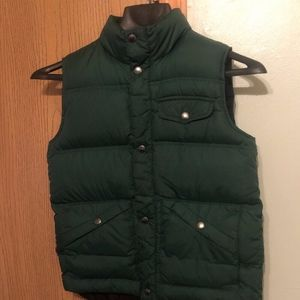 Lands End Boy's Medium Solid Green Puffer Vest